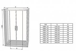 Душові двері 160см. RAVAK 10DP4-160 профіль сатин прозоре скло, фото 3