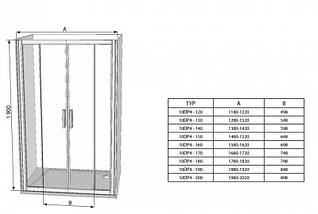Душові двері 160см. RAVAK 10DP4-160 профіль білий прозоре скло, фото 3