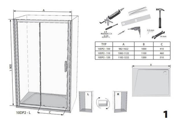 Душові двері 120см. RAVAK 10DP2-120 профіль білий прозоре скло, фото 2