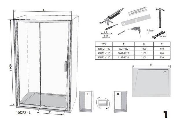 Душові двері 110см. RAVAK 10DP2-110 профіль сатин прозоре скло, фото 2