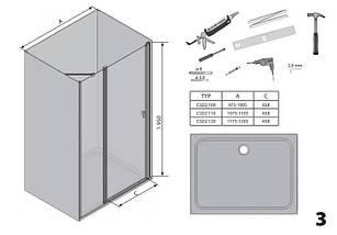 Душові двері 100см. RAVAK CSD2-100  профіль  Полір. алюм. прозоре скло, фото 3