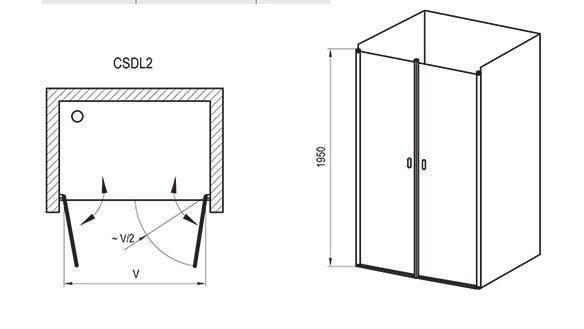Душові двері 100см. RAVAK CSDL2 - 100  профіль  Полір. алюм. прозоре скло, фото 2