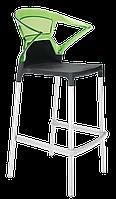 Барное кресло Papatya Ego-K черное сиденье, верх прозрачно-зеленый, фото 1