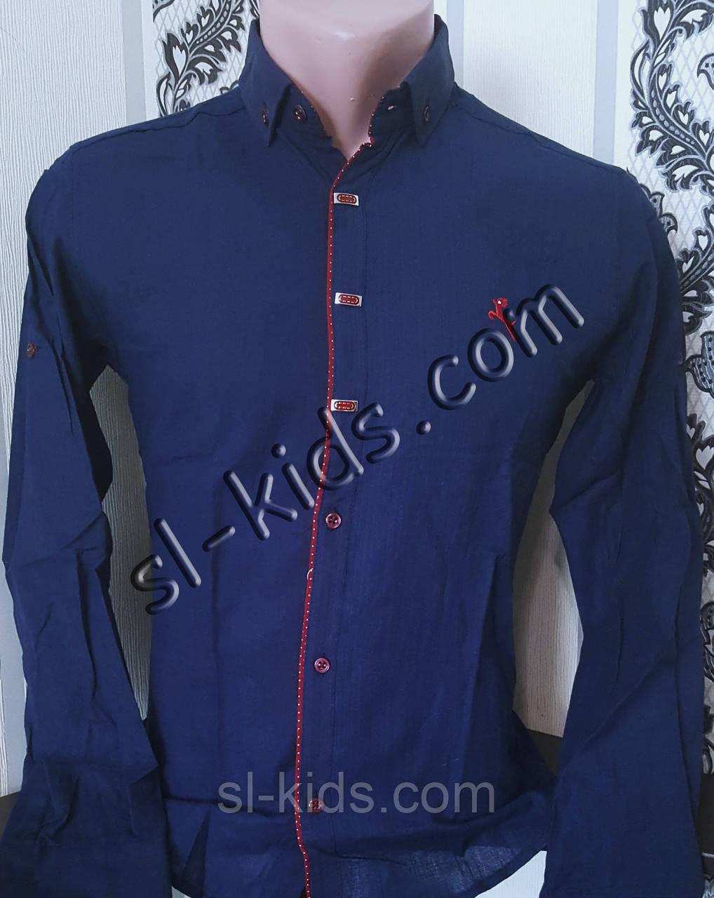 Стильная рубашка для мальчика 11-15 лет(опт) (темно синяя) (пр. Турция)