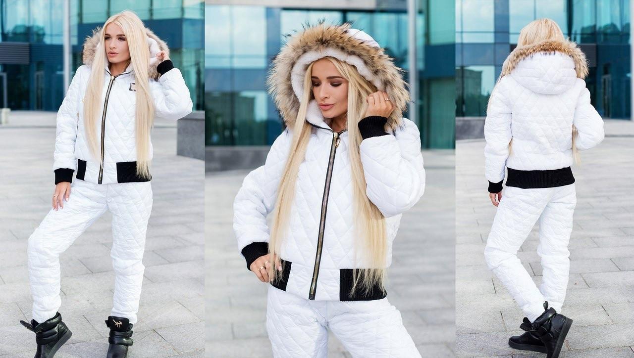 65087cb8 Женский зимний костюм из стеганого лаке на силиконе в куртке и капюшоне  наполнитель овчина , мех