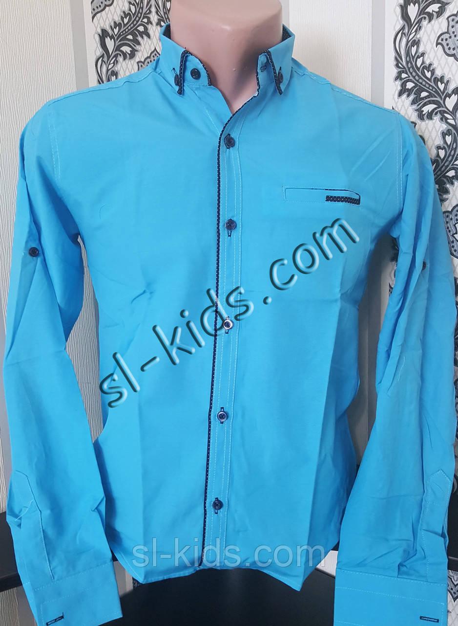Стильная рубашка для мальчика 11-15 лет(опт) (бирюза 01) (пр. Турция)