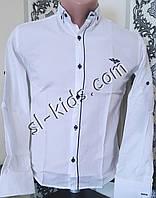 Стильная рубашка для мальчика 11-15 лет(опт) (белая 04) (пр. Турция)