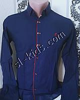 Стильная рубашка для мальчика 11-15 лет(розн) (темно синяя01) (пр. Турция)