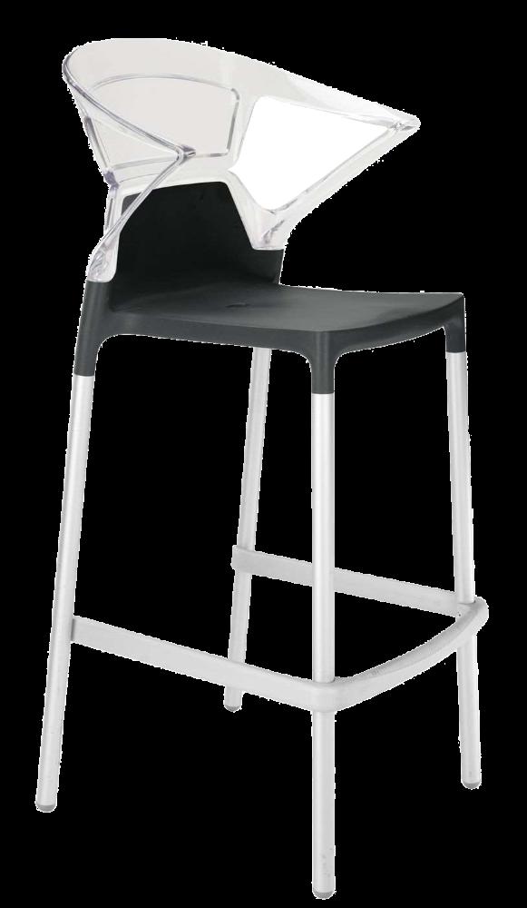 Барное кресло Papatya Ego-K черное сиденье, верх прозрачно-чистый