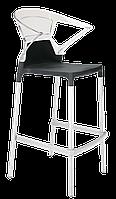 Барное кресло Papatya Ego-K черное сиденье, верх прозрачно-чистый, фото 1
