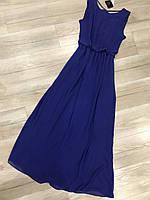 Платье Сарафан, платье шифон, Платье в пол,  длинное лёгкое платье, платье темно-синее, на наш 46-48
