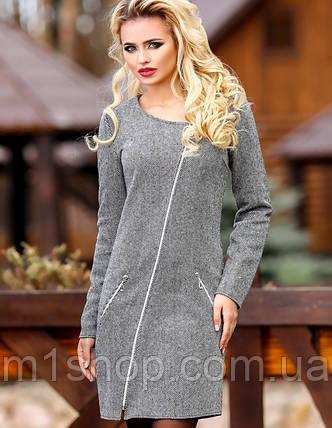Женское серое твидовое платье (1079 svt), фото 2