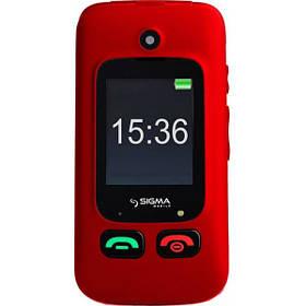 """Кнопочный мобильный телефон (""""раскладушка"""") Sigma mobile Comfort 50 Shell DUO black-red"""