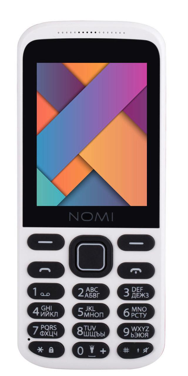 Кнопочный мобильный телефон Nomi i244 white-red
