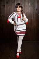 Симпатичное вышитое детское платье с домотканой ткани бд407