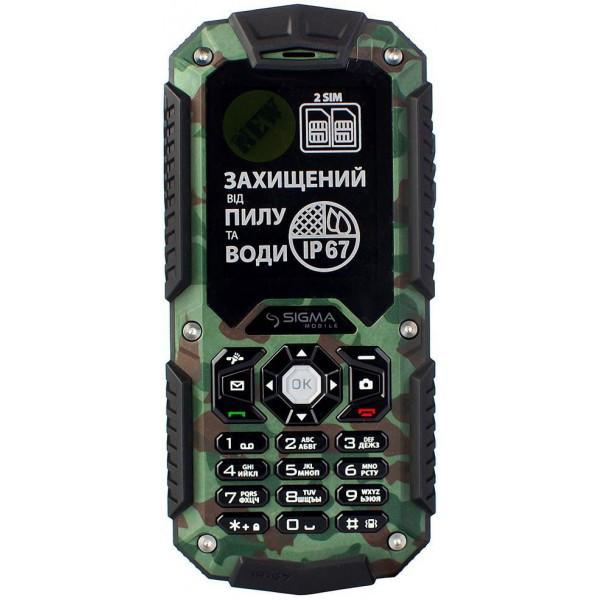 Пылевлагонепроницаемый кнопочный мобильный телефон Sigma mobile X-treame IT67 Dual Sim khaki