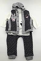 Костюм для новорожденного девочки 6 9 и 12 месяцев трикотажный серый костюмчик на новорожденных трикотаж
