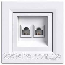 Розетка компьютерная двойная Schneider Asfora (белый и беж)