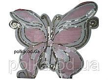 3D аппликация с пайетками -розовая бабочка(25см)-4.08