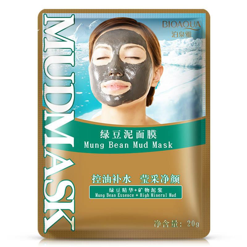 Маска для лица очищающая и тонизирующая с минеральной грязью и бобами мунг BIOAQUA Mung Bean Mud Mask (20г)