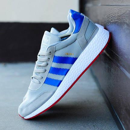 Мужские кроссовки в стиле Adidas Iniki Runner Boost Grey/Blue, фото 2