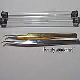 Пинцет AS 01 изогнутый, для обьемного наращивания, в колбе, хром., фото 2