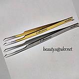 Пинцет AS 01 изогнутый, для обьемного наращивания, в колбе, хром., фото 4