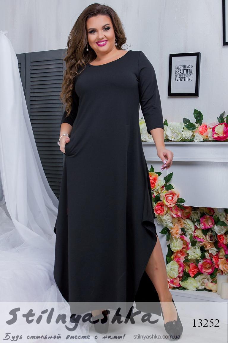 Стильное платье в пол для полных черный, фото 1