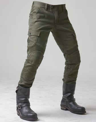Мото штаны брюки джинсы с защитными вставками коленей и бёдер Komine оливковые, фото 2