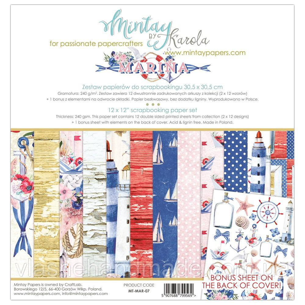 Набір двостороннього паперу - Marina - Mintay Paper - 30x30