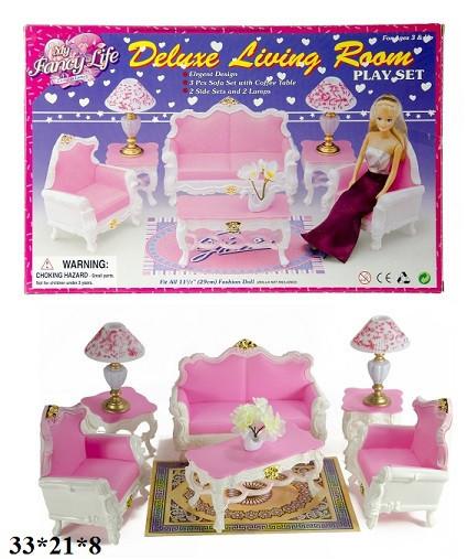 Мебель Gloria 2317 для куклы, гостинной, диван, 2кресла, столик,…в коробке 33*21*8 см.