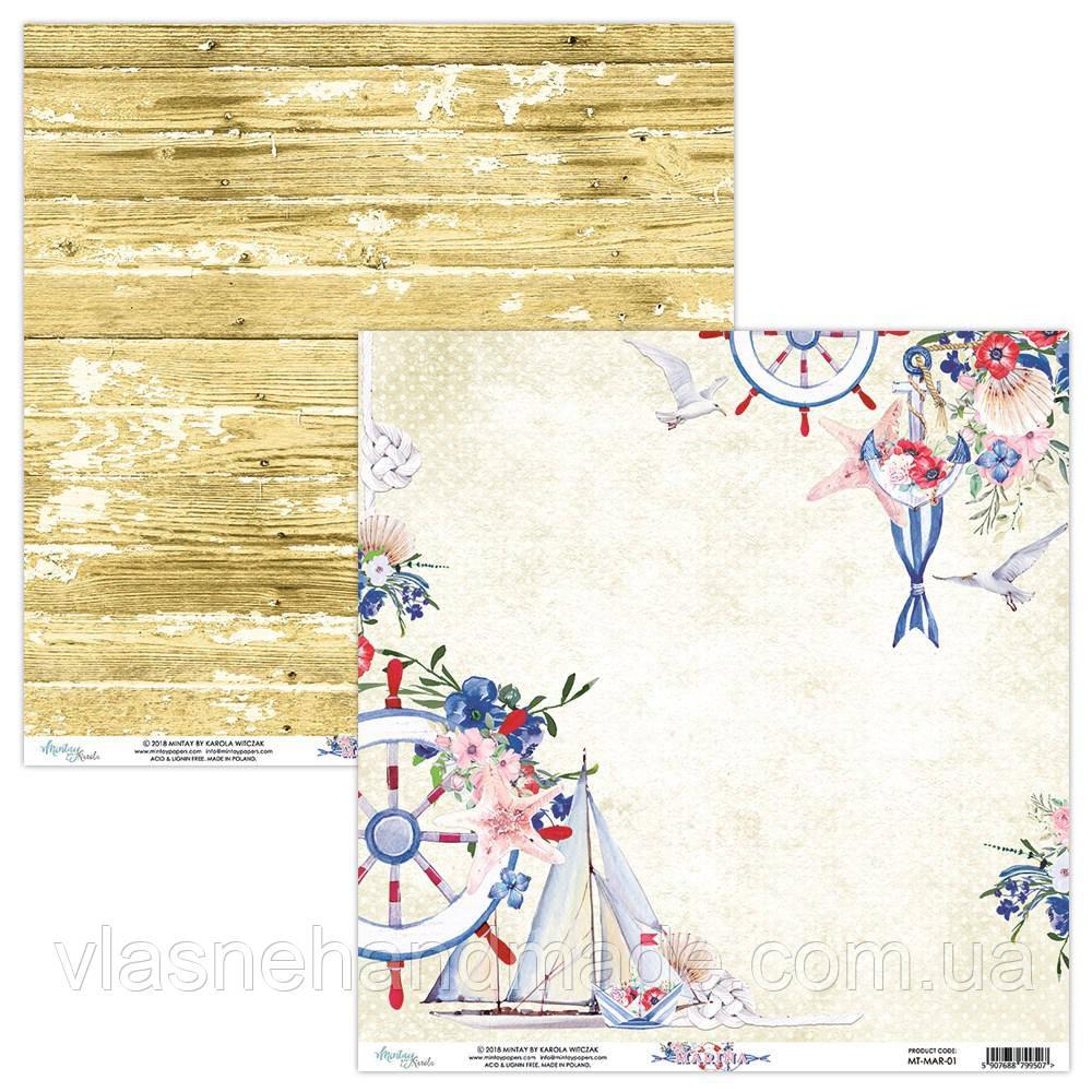 Папір двосторонній - 01 - Marina - Mintay Paper - 30x30