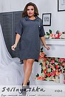 25dba087c00 Стильное большое платье Гусар графит. Платье со змейками большого размера  графит