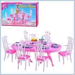 Мебель Gloria 9712 для куклы гостинной, стол, 6 стульев, посуда, свечи, в коробке 44*23*9 см.