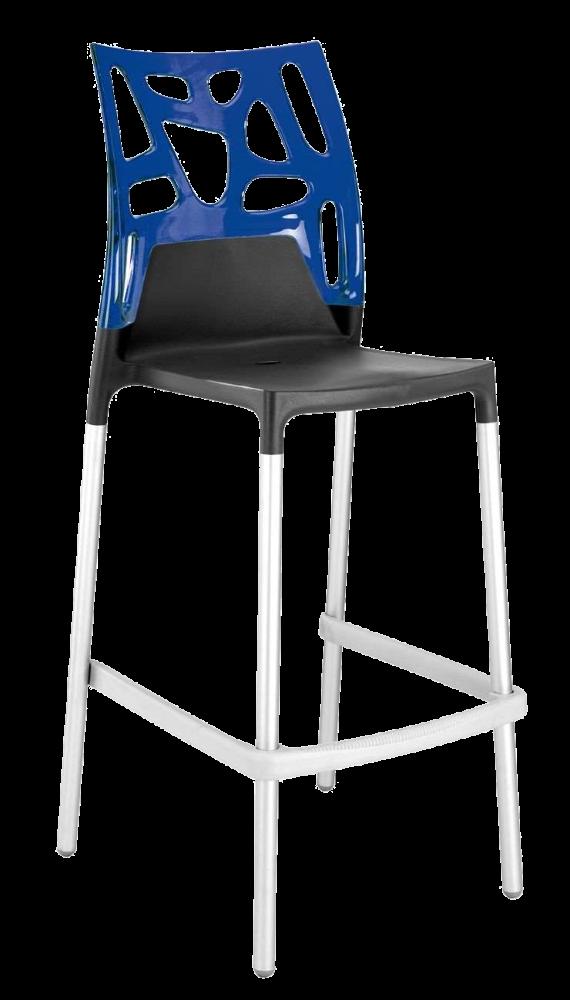Барний стілець Papatya Ego-Rock антрацит сидіння, верх прозоро-синій