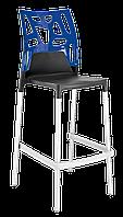 Барний стілець Papatya Ego-Rock антрацит сидіння, верх прозоро-синій, фото 1
