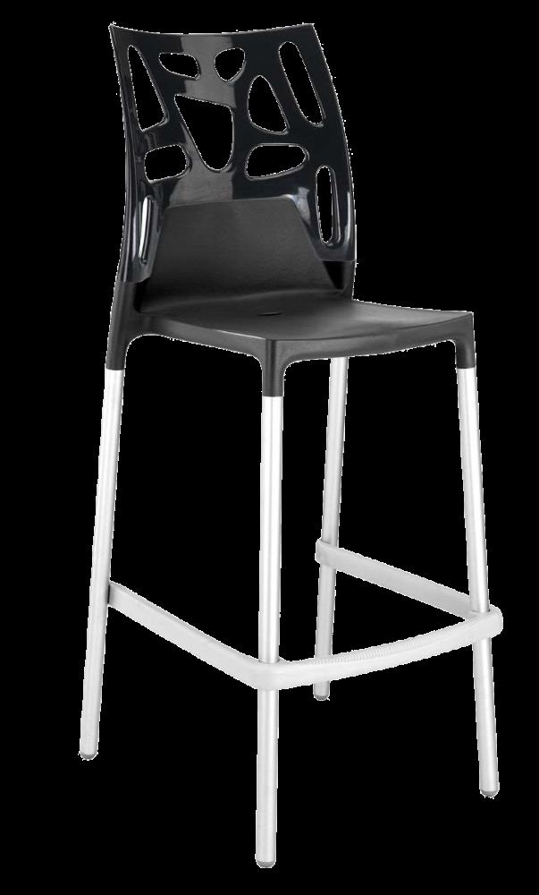 Барный стул Papatya Ego-Rock антрацит сиденье, верх черный