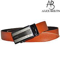 Ремень мужской брючный (оражевый)  с пряжкой автомат кожаный (Вознесенск) 35 мм - купить оптом