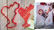Набор Девушка в бокале - пластиковая вырубка  + трафарет
