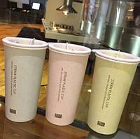 Бутылка-чашка из биопластика Straw Cup с двойными стенками 400 мл разных цветов Оптом