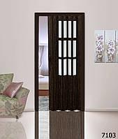 Дверь гармошка со  стеклом 7103