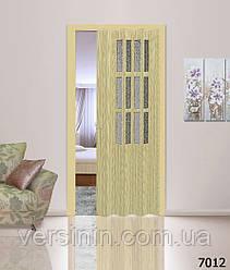 Дверь гармошка со  стеклом 7012