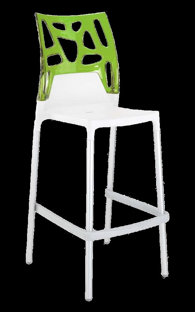 Барный стул Papatya Ego-Rock белое сиденье, верх прозрачно-зеленый