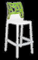 Барный стул Papatya Ego-Rock белое сиденье, верх прозрачно-зеленый, фото 1
