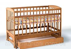 Детская кроватка с ящиком, на шарнирах Гойдалка (Арт. 1140)