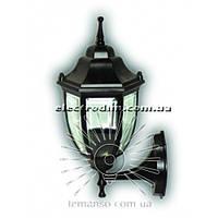 Настенный садово-парковый светильник бра черный прозрачное стекло Lemanso PL5101