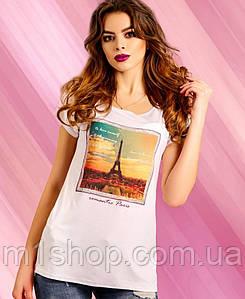 Женская удлиненная футболка с эйфелевой башней (1211 svt)