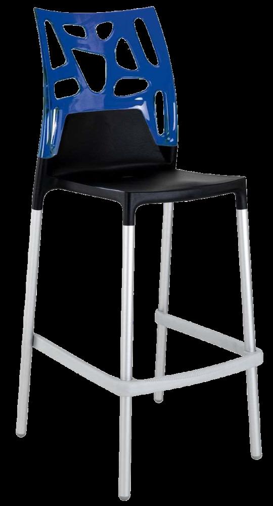 Барний стілець Papatya Ego-Rock чорне сидіння, верх прозоро-синій