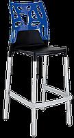 Барний стілець Papatya Ego-Rock чорне сидіння, верх прозоро-синій, фото 1