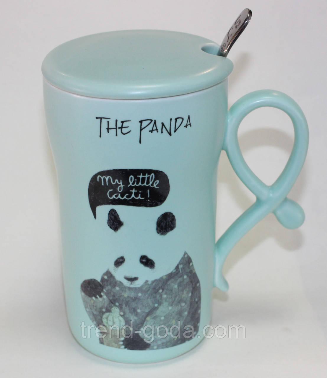 Кружка керамическая мятная, Панда, с ложкой и крышкой